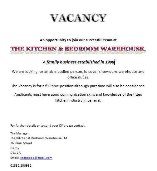 job vacancies at the kitchen & bedroom warehouse in derby